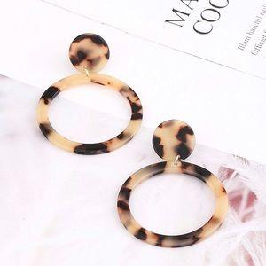 Tortoise Shell Hoop Acrylic Earrings